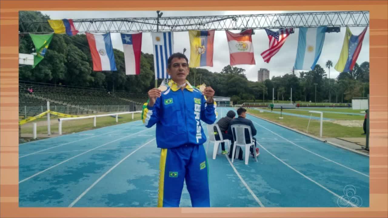 Da Costa ganha medalha de ouro e prata em competição de atletismo master no Uruguai