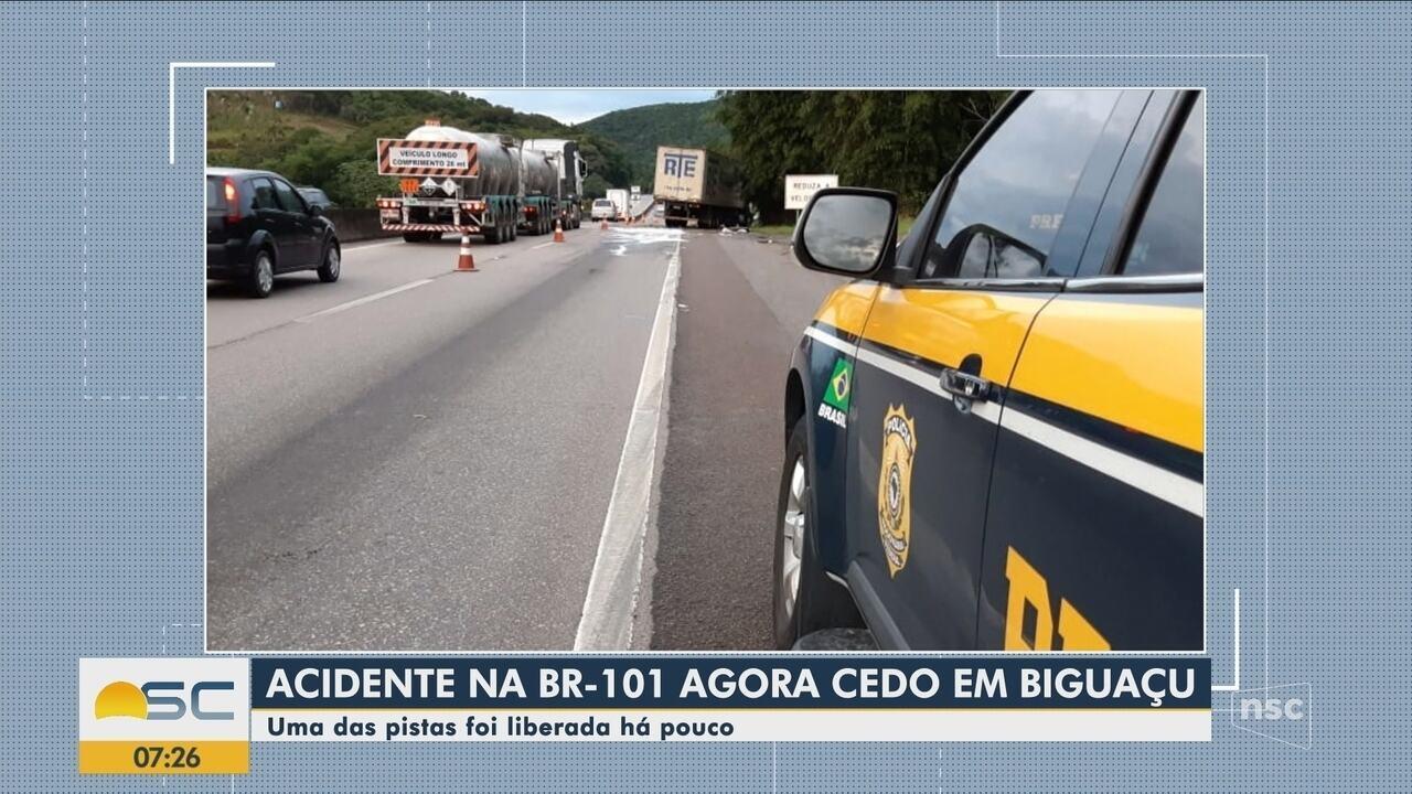 Acidente na BR-101 provoca complicações no trânsito em Biguaçu
