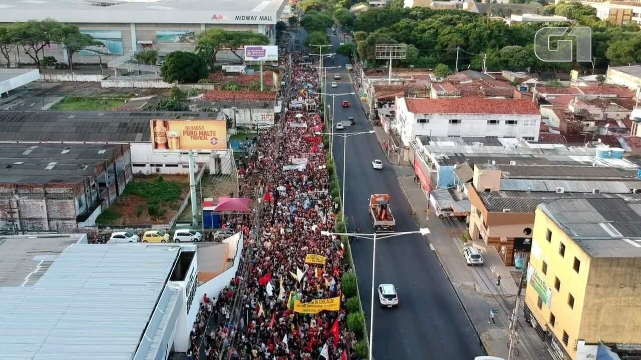 Vídeo mostra imagens aéreas do protesto em Natal - Imagens: Rafael Fernandes