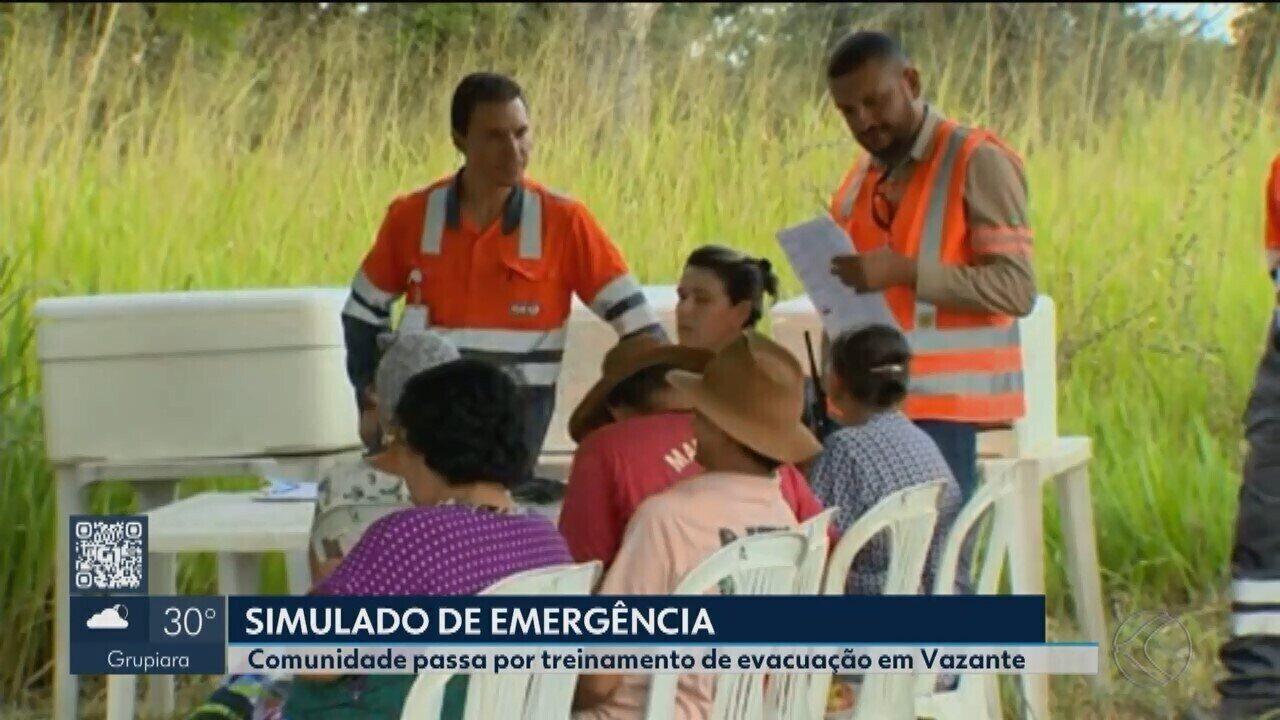 Moradores de Vazante participam de treinamento de evacuação da área onde fica a barragem