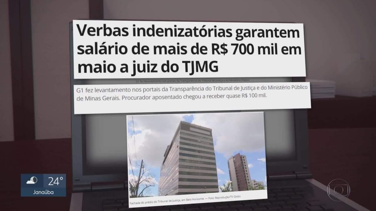 Verbas indenizatórias garantem salário de mais de R$700 mil em maio a um juiz do TJMG.