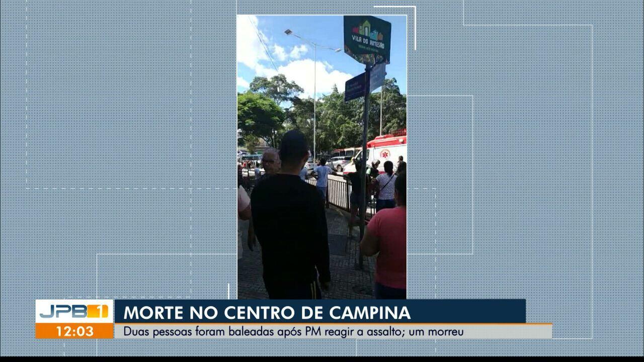 Duas pessoas foram baleadas após PM reagir a assalto em Campina Grande