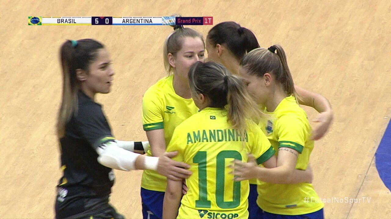 Os gols de Brasil 11 x 0 Argentina pelo Grand Prix Feminino de Futsal
