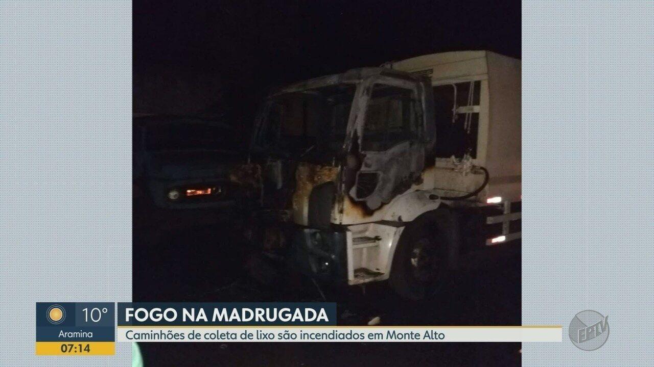 Dois caminhões de coleta de lixo são incendiados em Monte Alto, SP