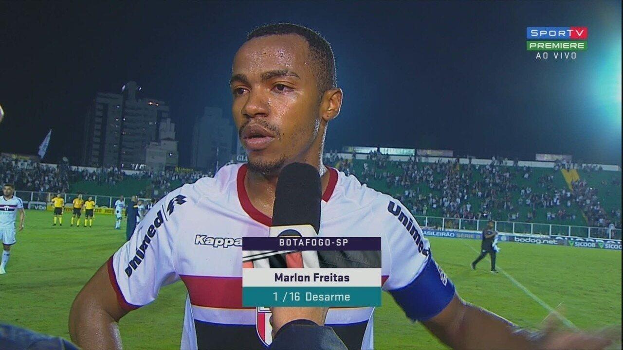 Entrevista pós-jogo do volante Marlon Freitas do Botafogo-SP