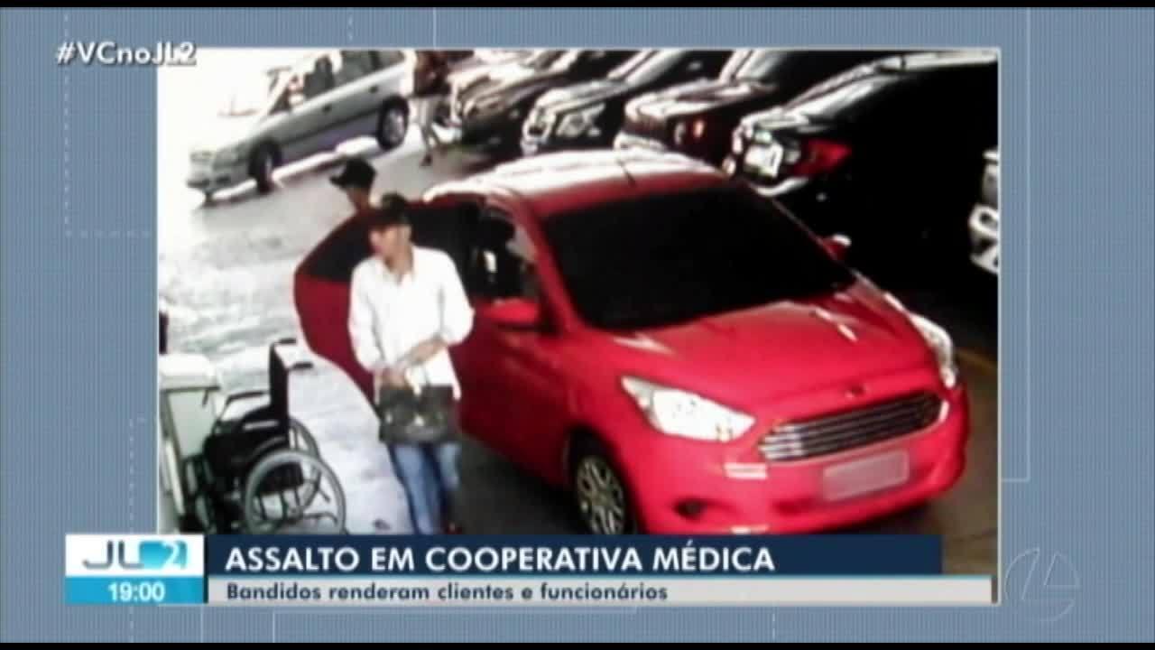Câmeras de segurança registram ação de bandidos que assaltaram unidade da Unimed, em Belém