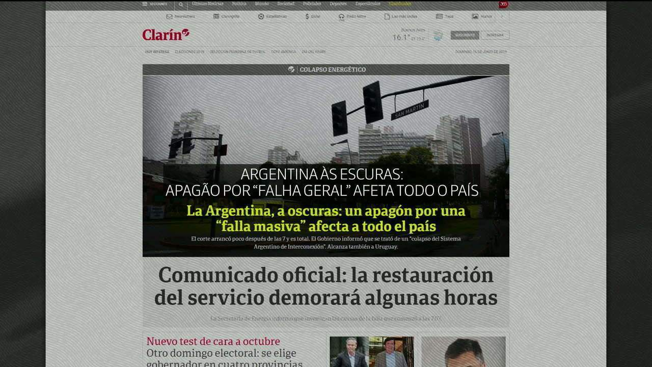 Apagão de grandes proporções deixa Argentina e o Uruguai sem luz elétrica