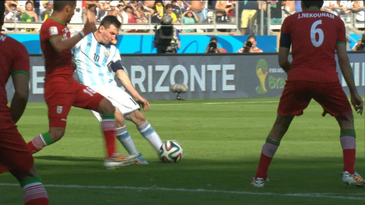 Na Copa do Mundo 2014, Messi marca e dá a vitória para a Argentina sobre o Irã