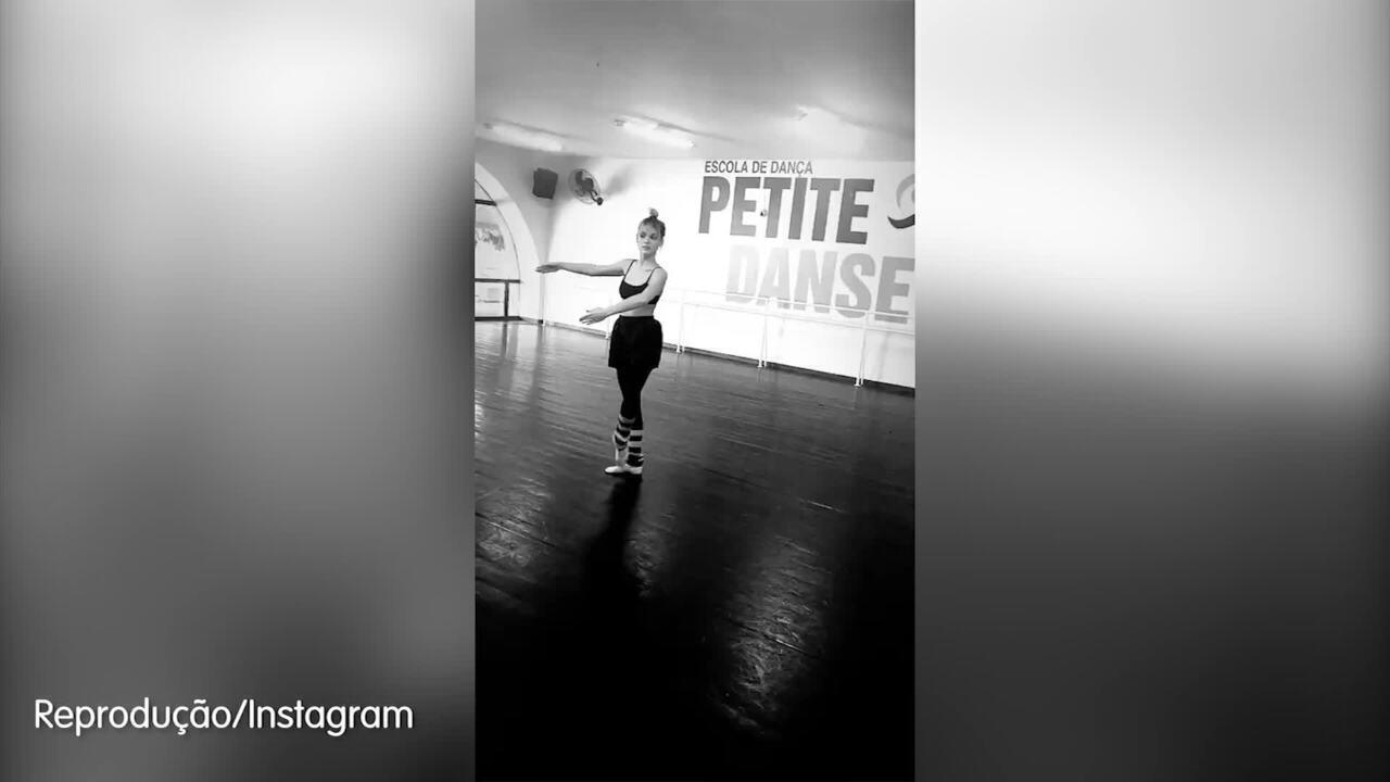 Isabelle Drummond mostra passos de balé