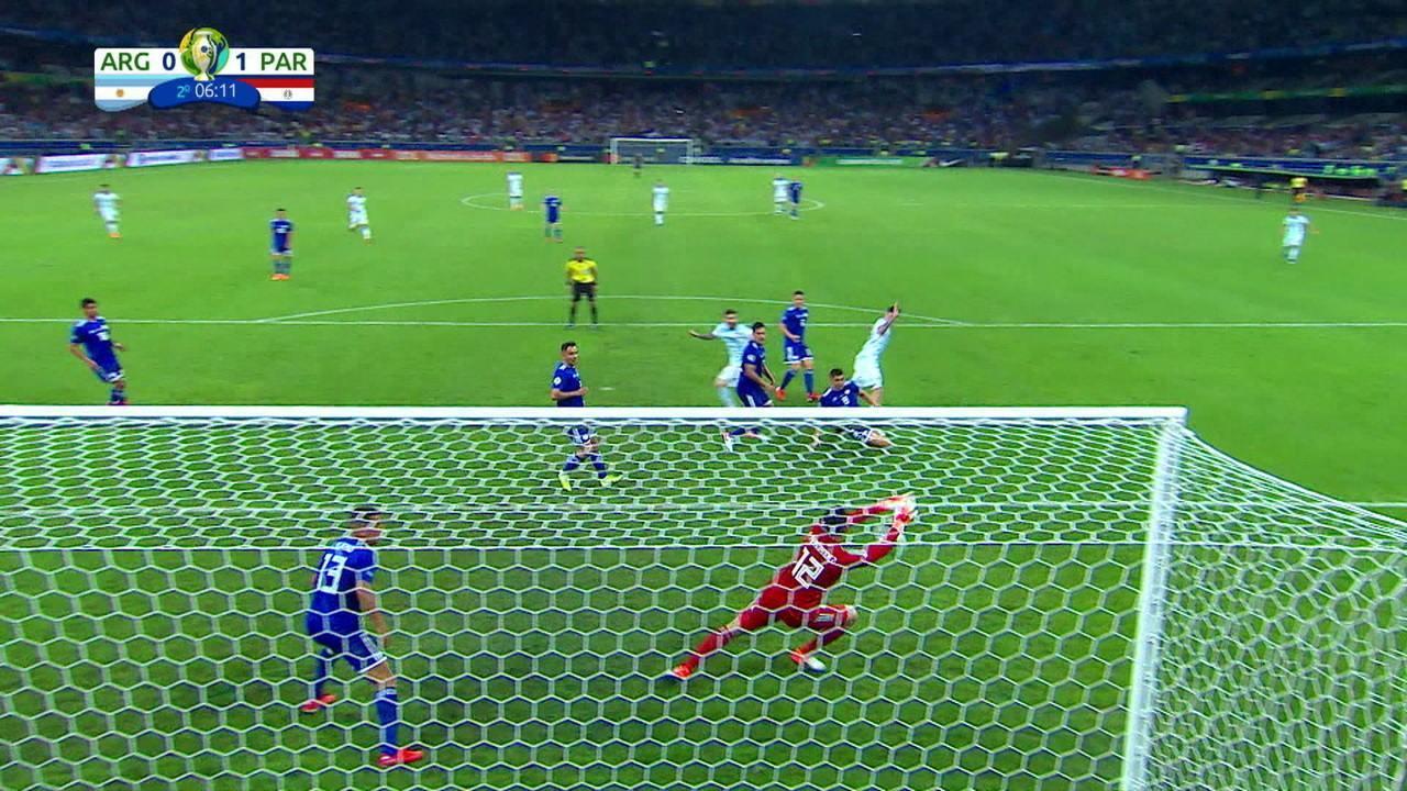 Martínez acerta o travessão, Messi pega a sobra, mas Gatito salva, aos 6' do 2º tempo