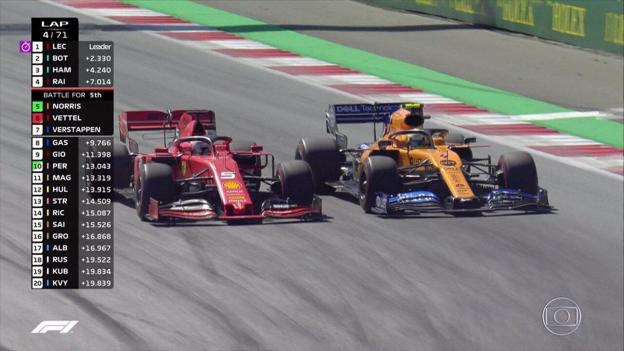 Vettel ultrapassa Norris e assume a quinta colocação
