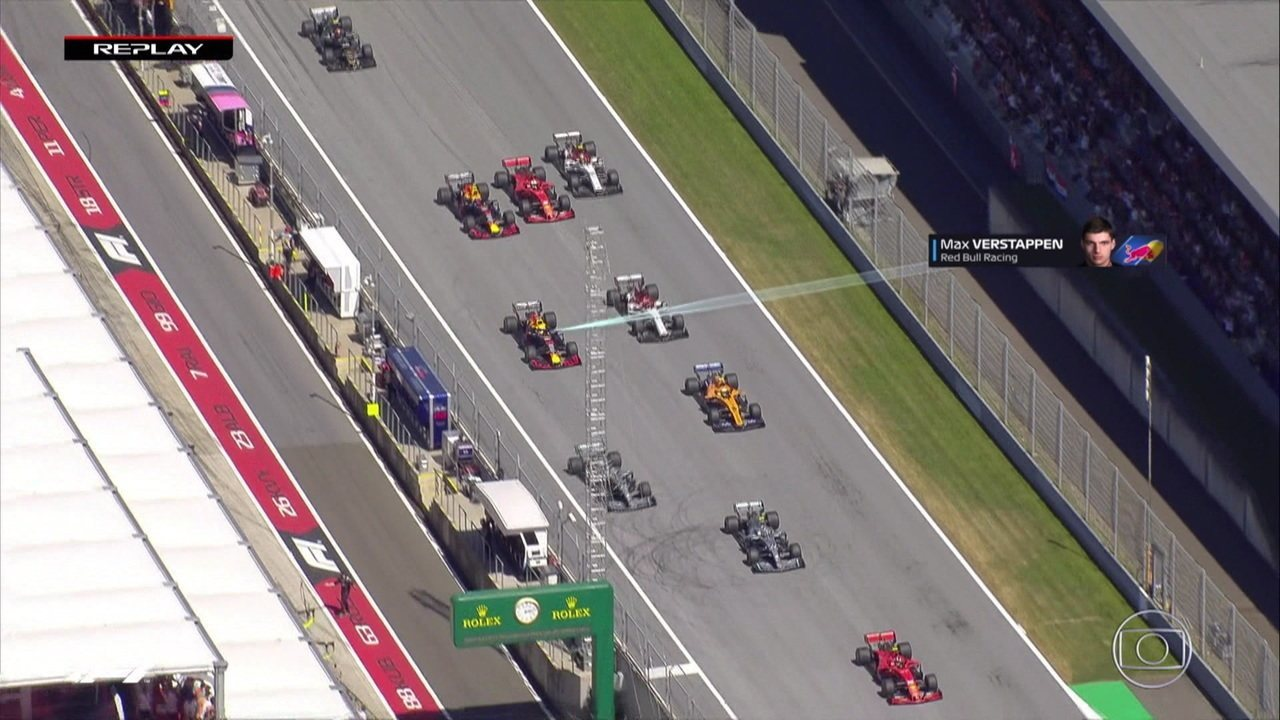 Replay da largada mostra Verstappen ficando e Vettel ganhando posição