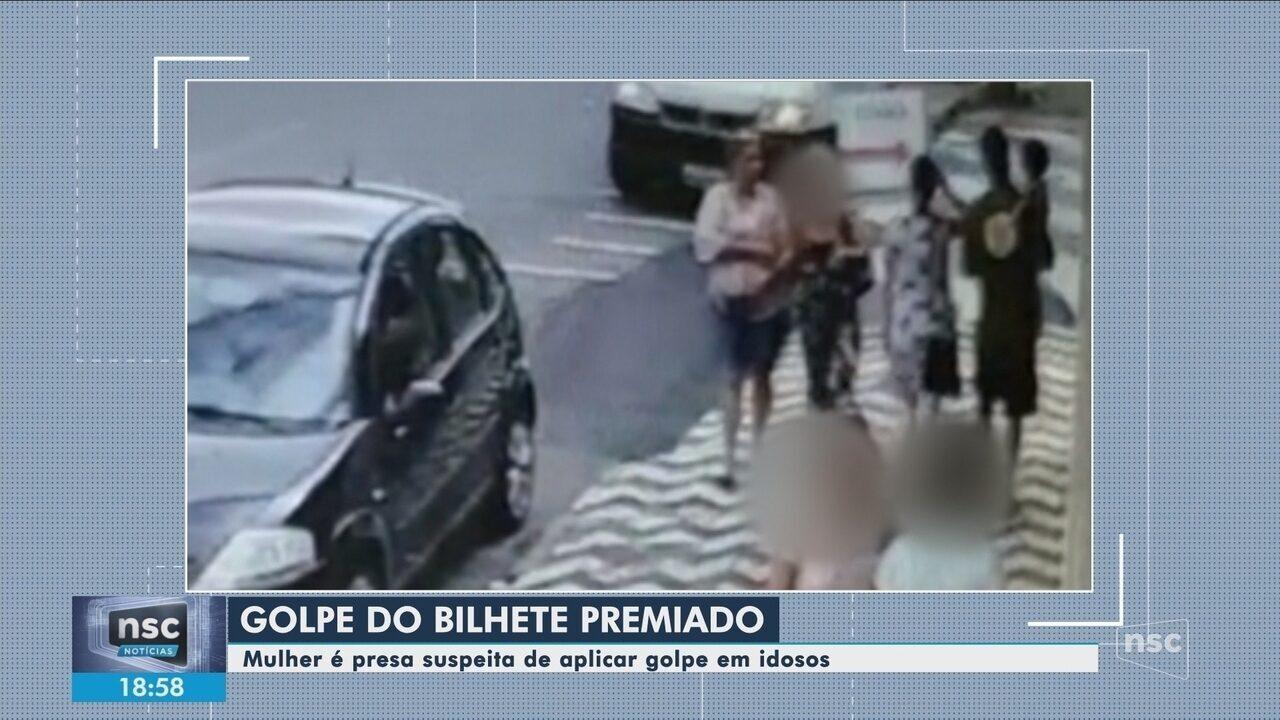 Mulher é presa suspeita de aplicar golpe do bilhete premiado em idosos em SC