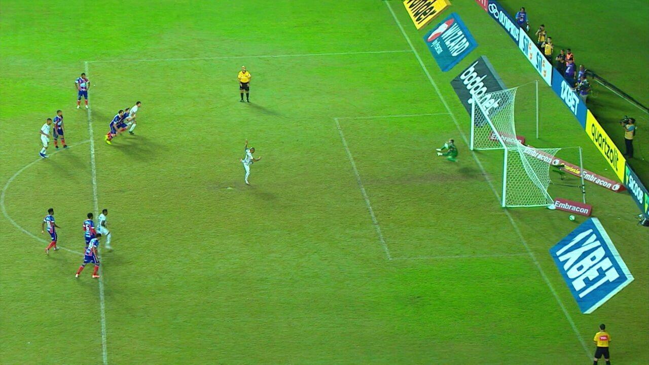 O gol de Bahia 0x1 Santos pela 10º rodada do Campeonato Brasileiro