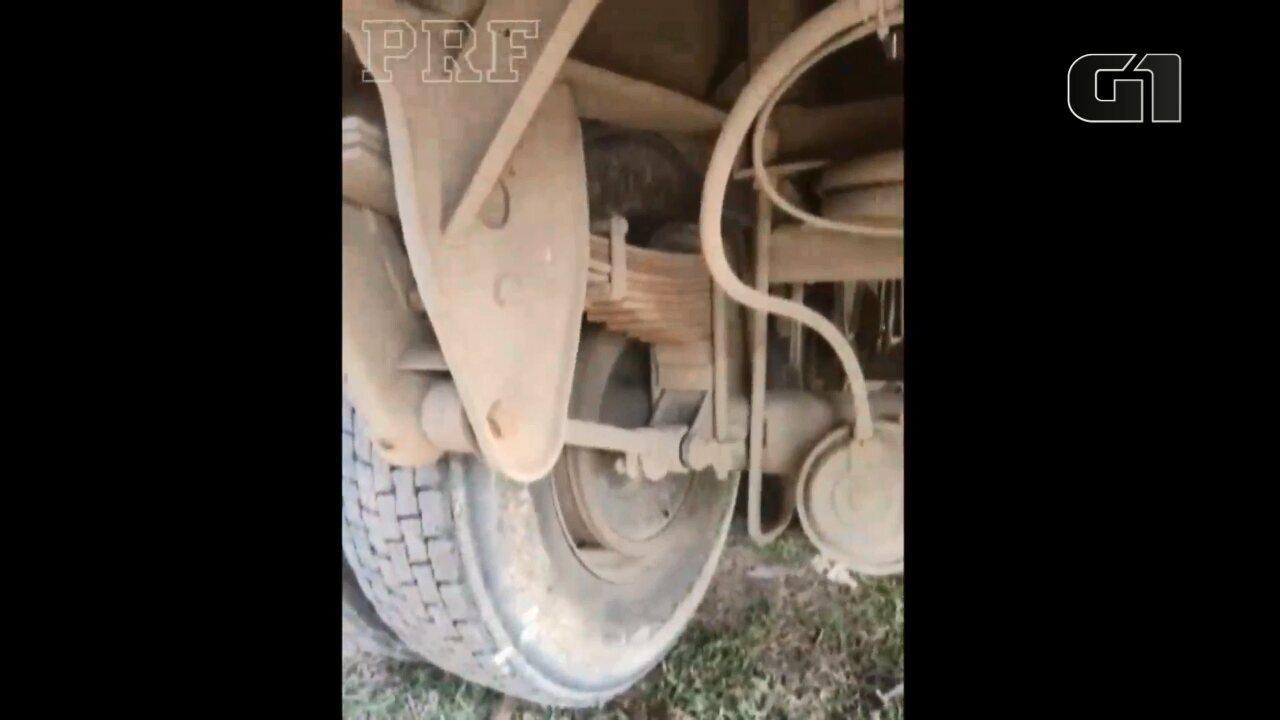 Imagens mostram caminhão que soltou peça e matou mulher na BR-476
