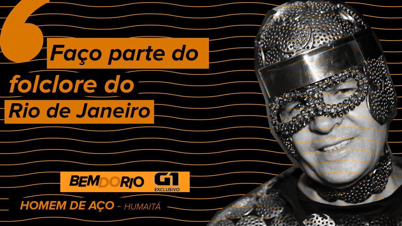 'Bem do Rio': Ambulante cria 'armadura' com ralos de pia e faz sucesso na Zona Sul