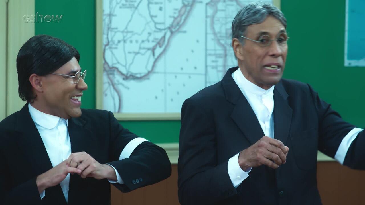 Eliézer Mota é ovacionado pelo elenco atual da 'Escolinha do Professor Raimundo'