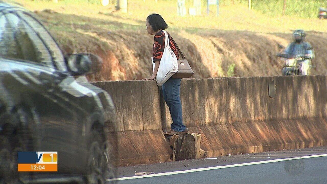 Sem passarela, trabalhadores se arriscam para atravessar Rodovia José Fregonezi