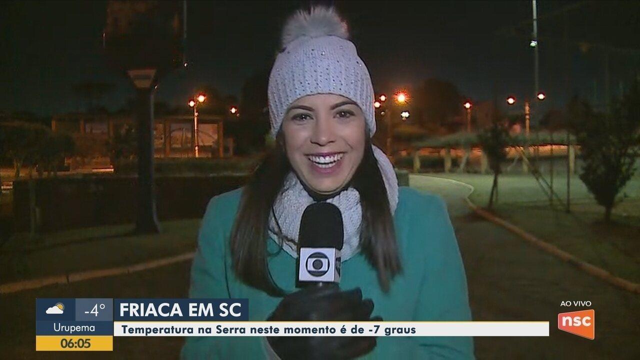 Temperaturas na Serra catarinense ficam abaixo de 0ºC na manhã desta quarta-feira (14)