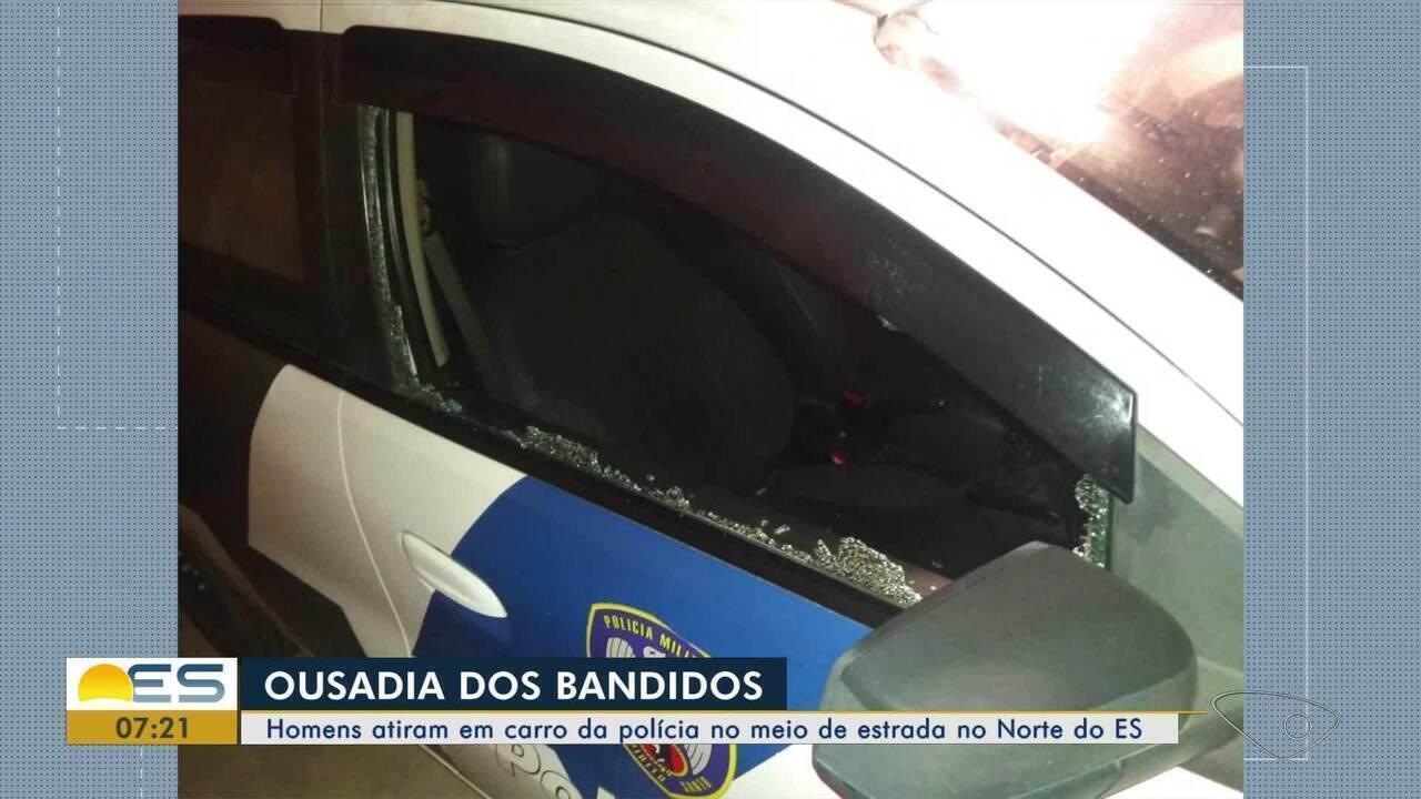 Homens atiram em carro da polícia no meio de estrada no Norte do ES