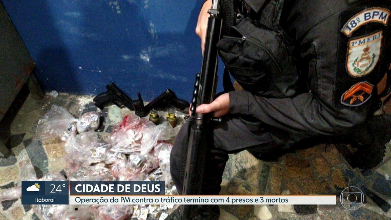 Operação da PM contra tráfico na Cidade de Deus termina com 3 mortos e 4 presos