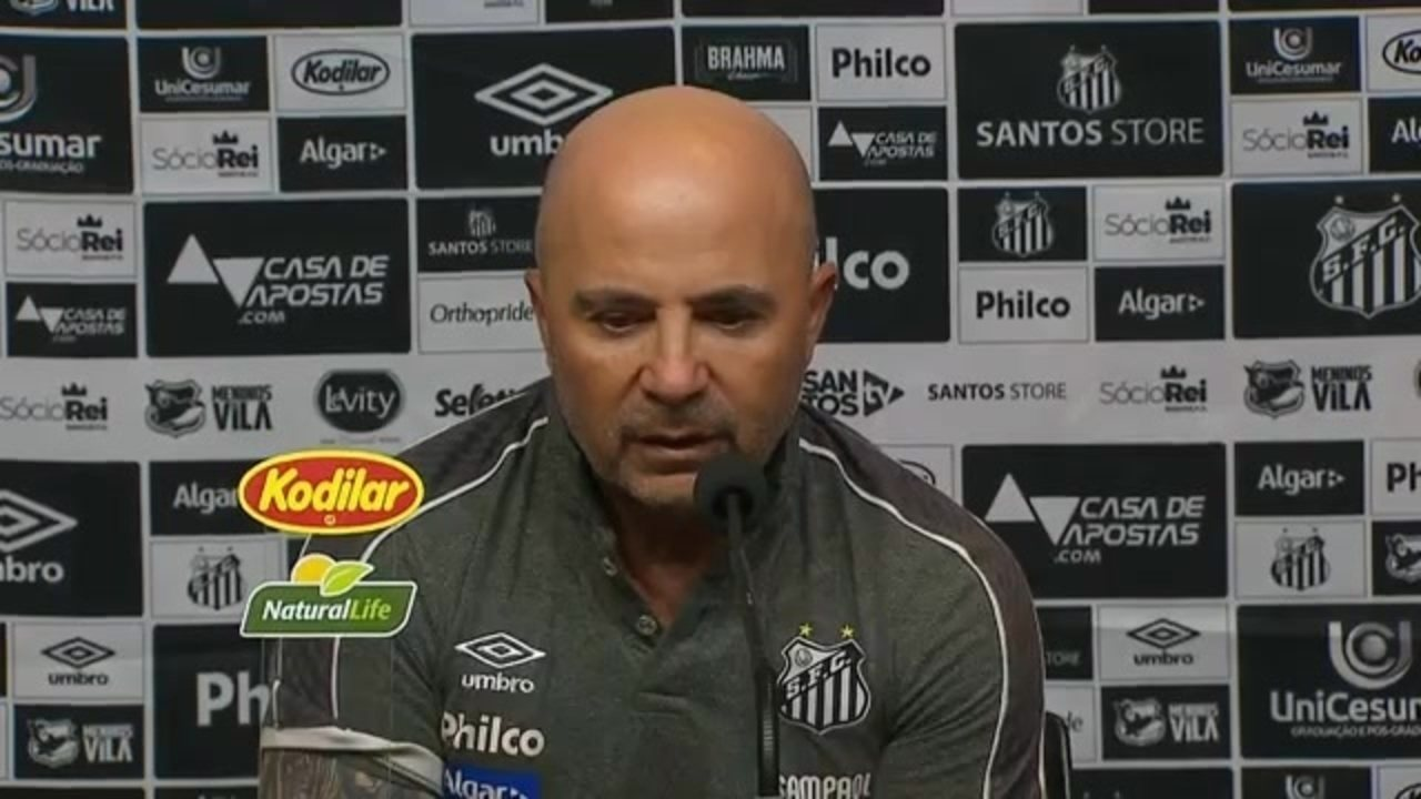 Jorge Sampaoli analisa a derrota do Santos para o Cruzeiro