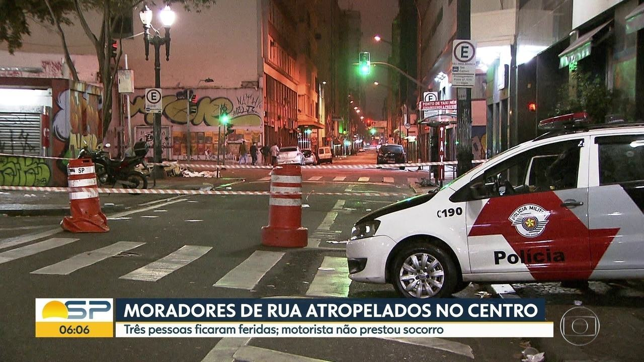 Três moradores de rua foram atropelados no centro de São Paulo