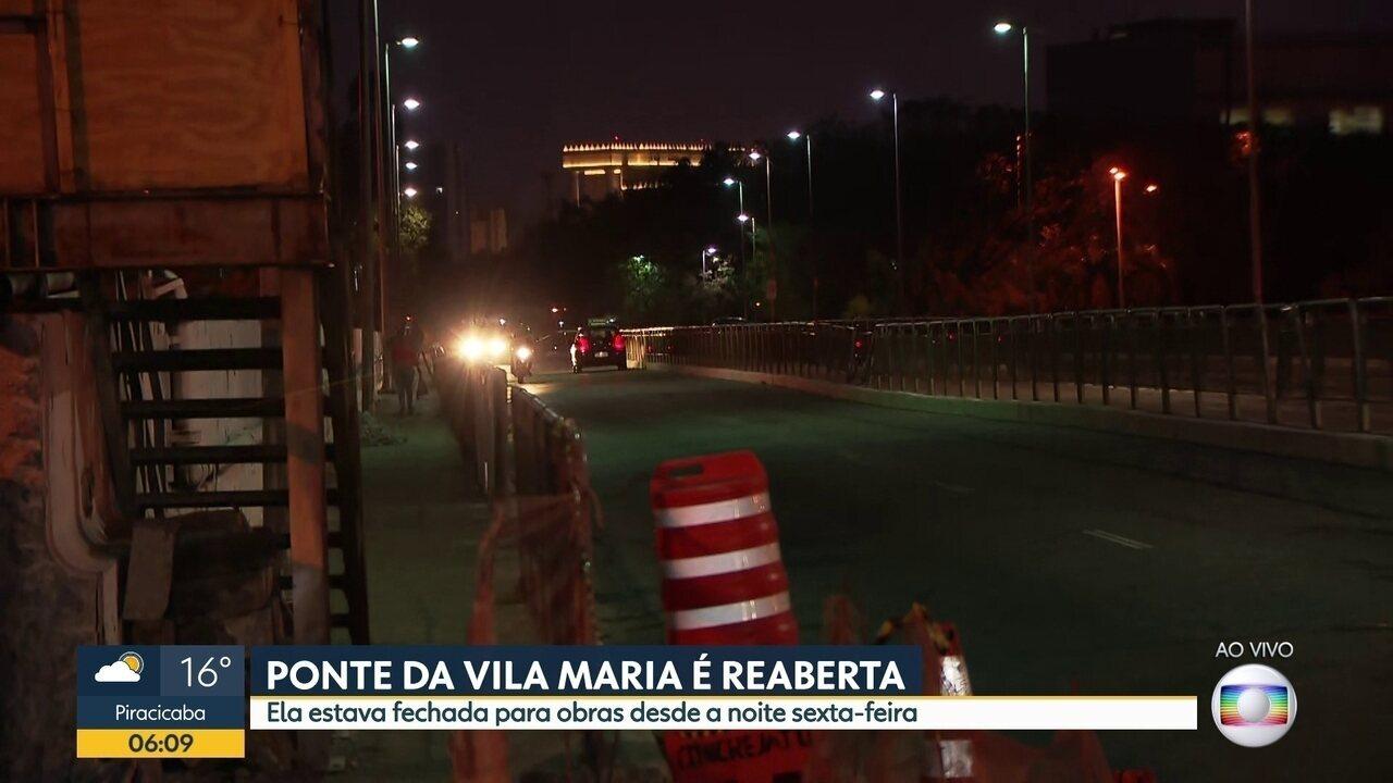 Ponte da Vila Maria foi reaberta na madrugada desta segunda-feira