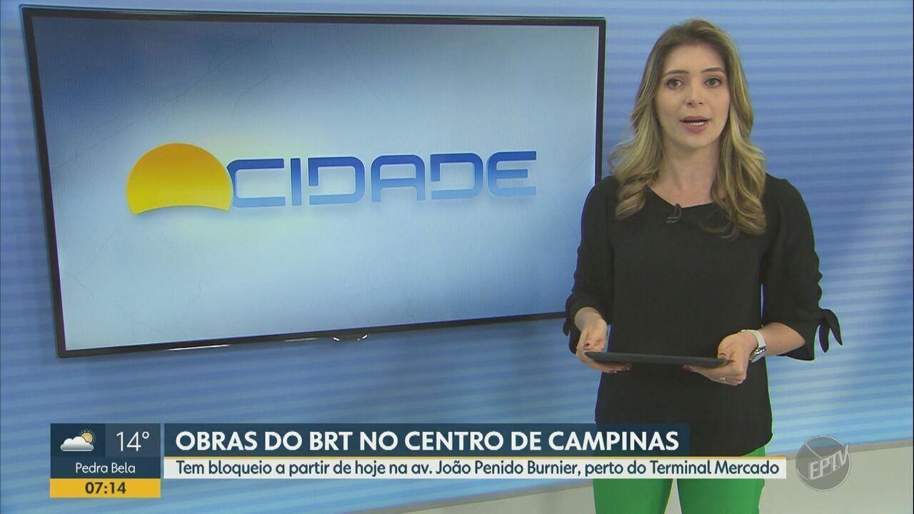 Obras do BRT no centro de Campinas bloqueiam trecho na avenida João Penido Burnier