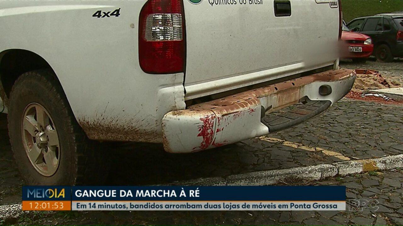 Em 14 minutos, gangue da marcha à ré arromba duas lojas de móveis em Ponta Grossa