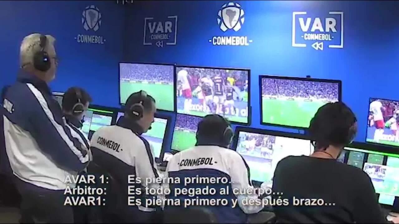 Vídeo da Conmebol mostra atuação do VAR no jogo entre Flamengo x Internacional