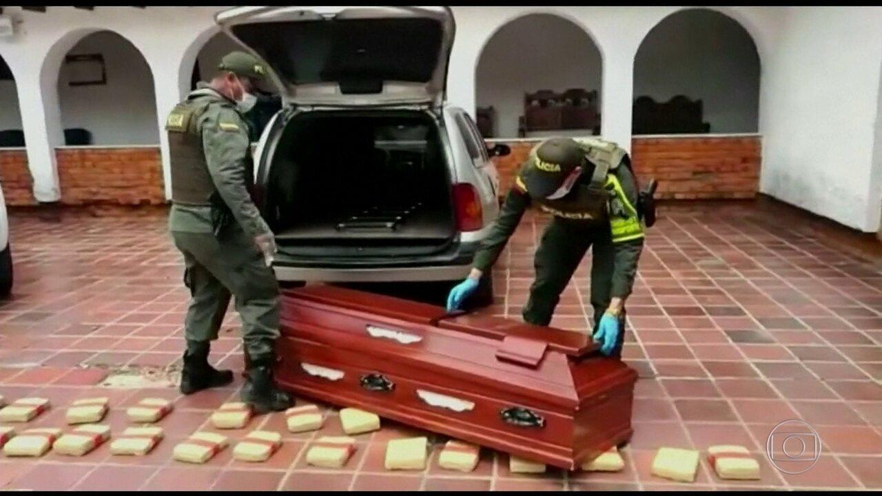 Polícia da Colômbia apreende 300 quilos de maconha dentro de caixões