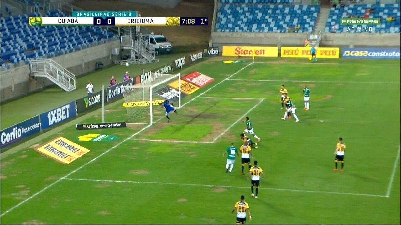 Júnior Todinho, do Cuiabá, chuta com a canhota, e Bruno Grassi faz uma bela defesa, aos 7 do 1º tempo