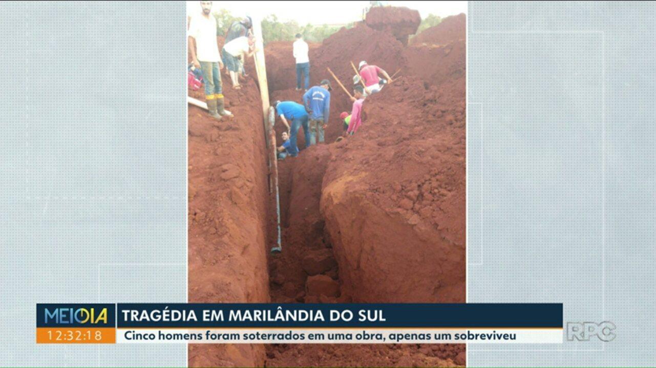 Cinco trabalhadores foram soterrados enquanto trabalhavam em Marilândia do Sul