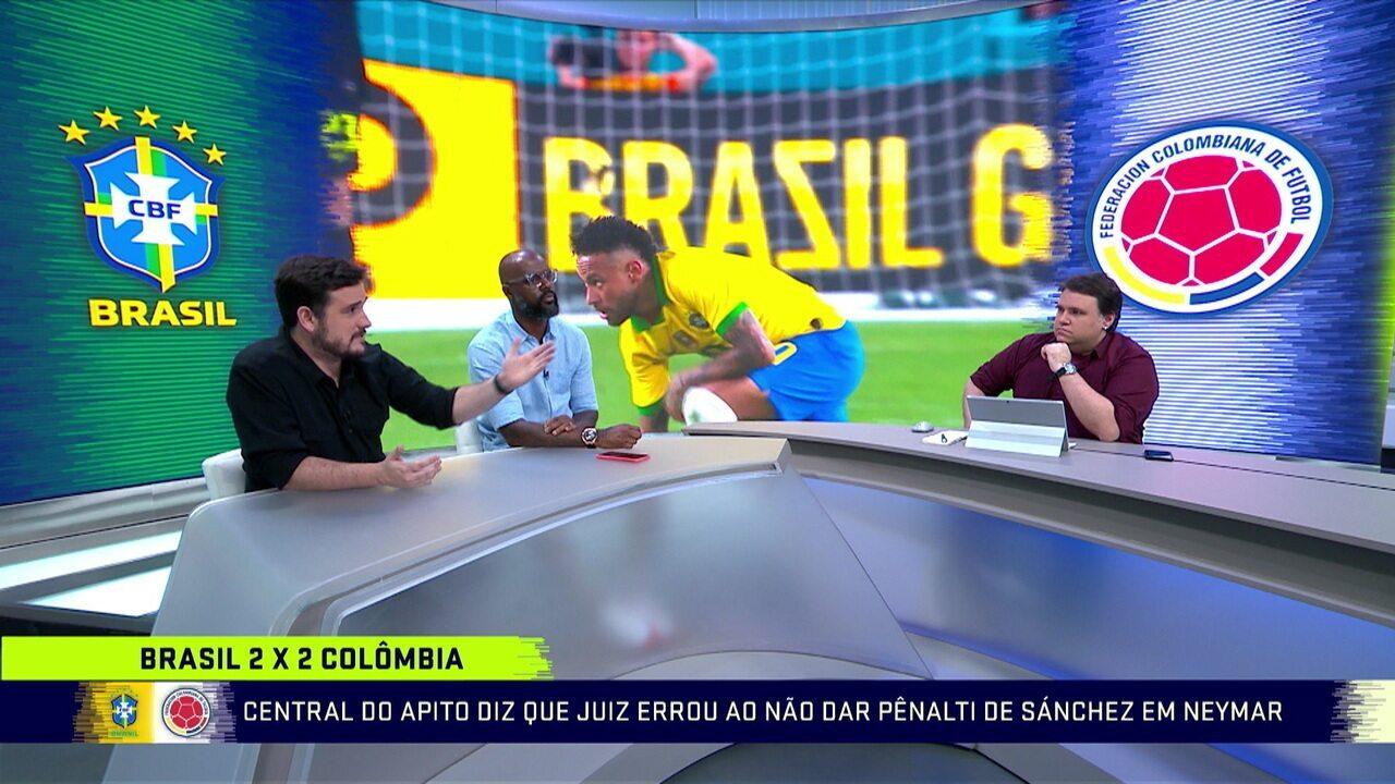 Comentaristas falam do pênalti não marcado e que Neymar precisa soltar a bola mais rápido