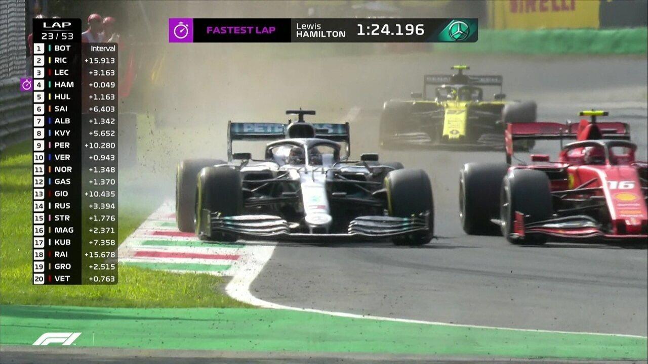 Hamilton tenta passar, mas Leclerc fecha a porta