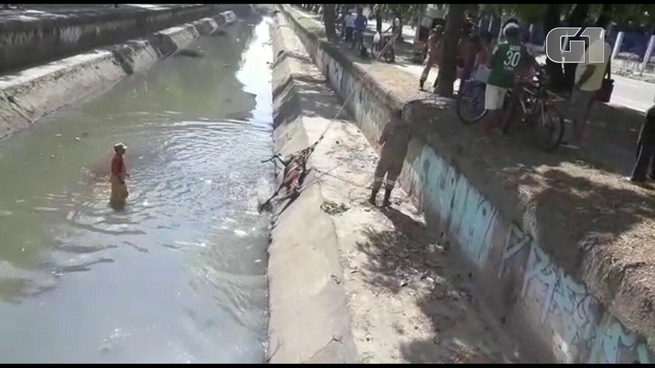 Cavalo é resgatado do canal do Arruda pelo Corpo de Bombeiros