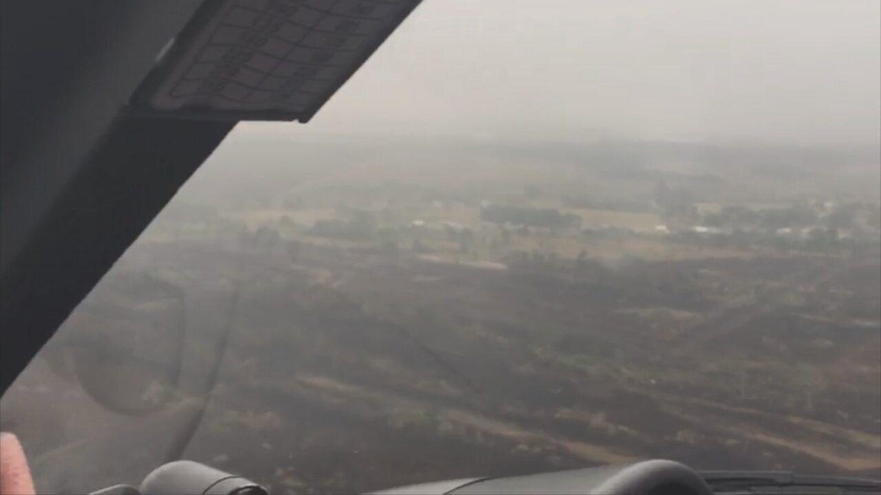 Queimada é controlada na Serra do Tabuleiro na Grande Florianópolis