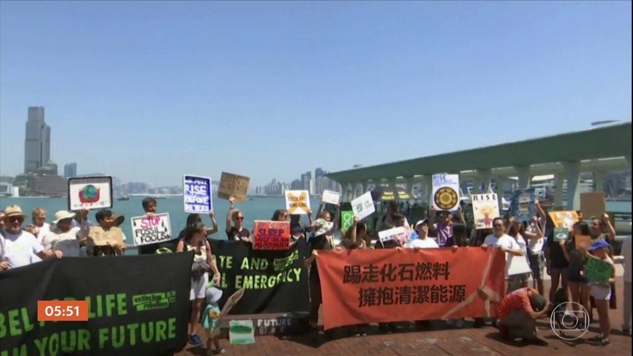 Manifestantes de mais de cem países protestam contra o aquecimento global