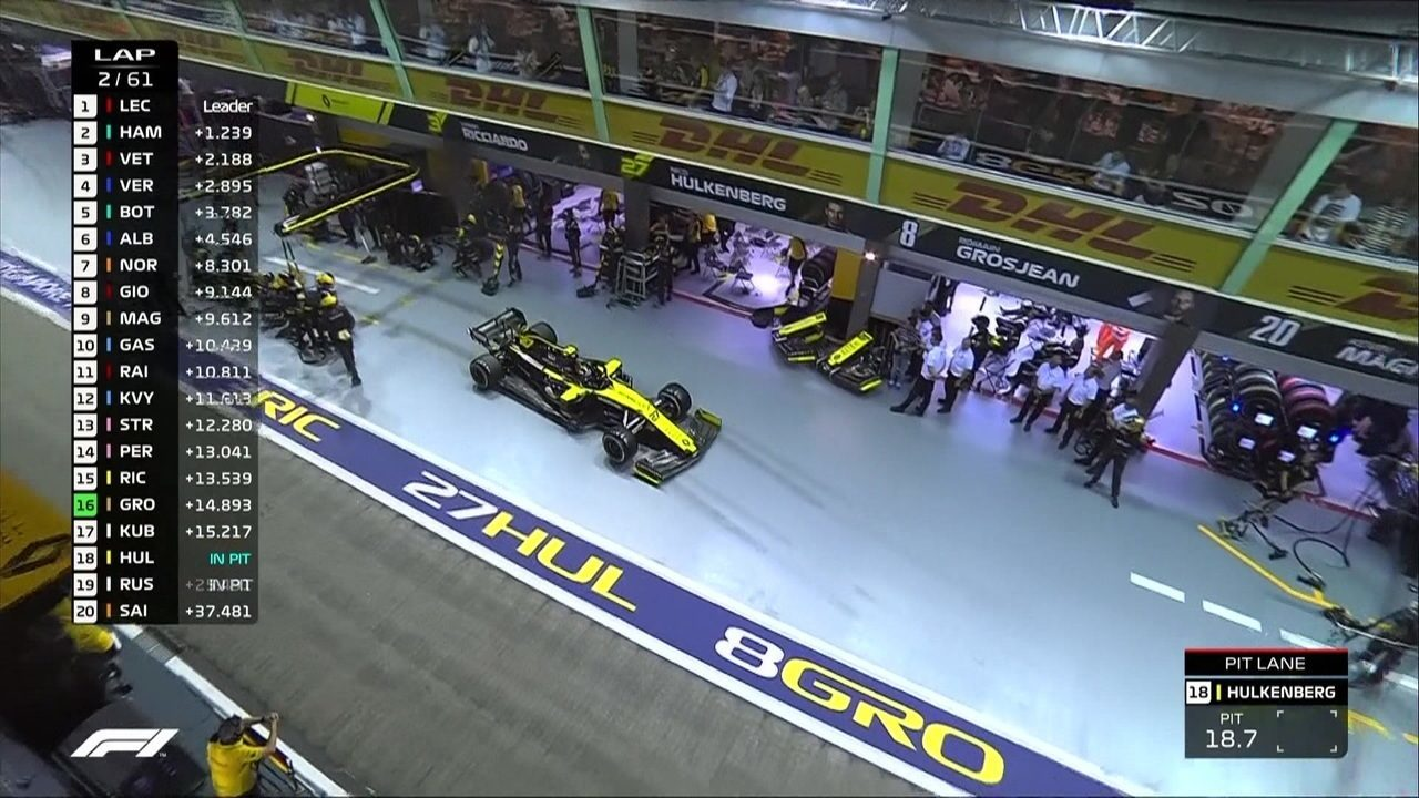 Hulkenberg vai para os boxes na segunda volta da corrida