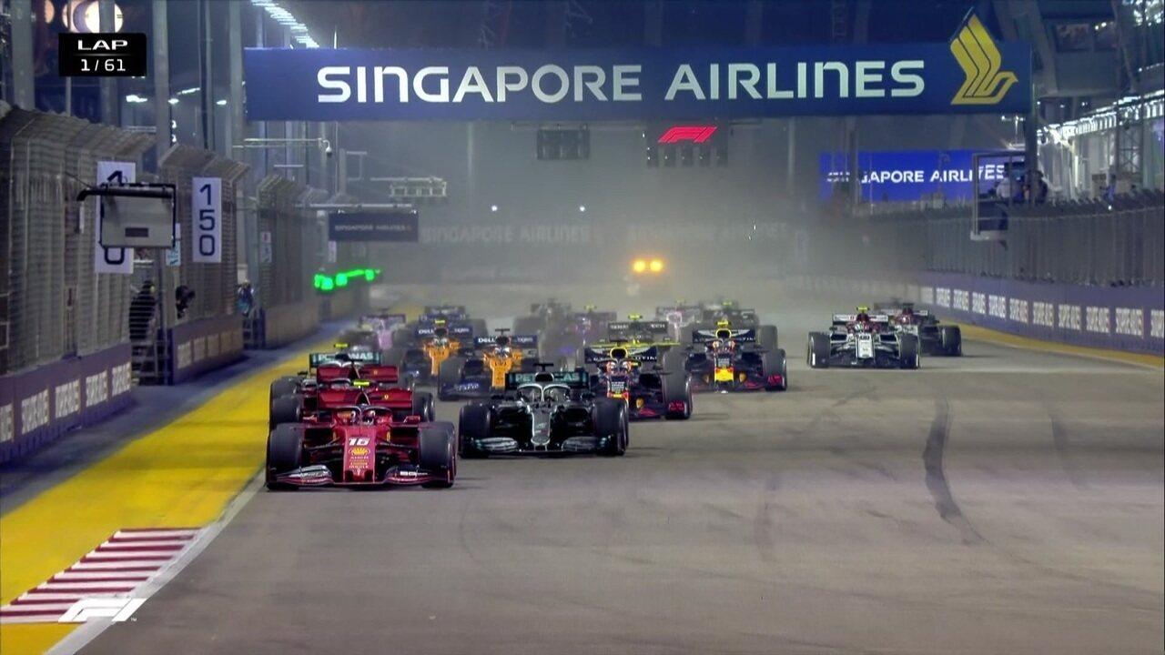 Confira a largada do GP de Cingapura da Fórmula 1 com problemas em alguns carros