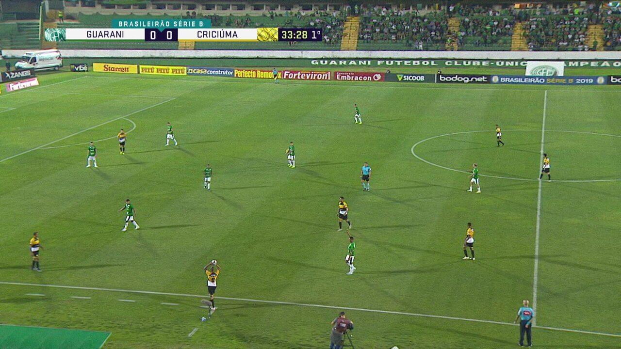 Melhores momentos: Guarani 1 x 0 Criciúma pela 24ª rodada do Brasileiro da Série B