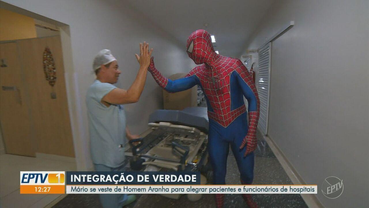 Técnico em enfermagem se veste de Homem Aranha para alegrar pacientes em hospitais