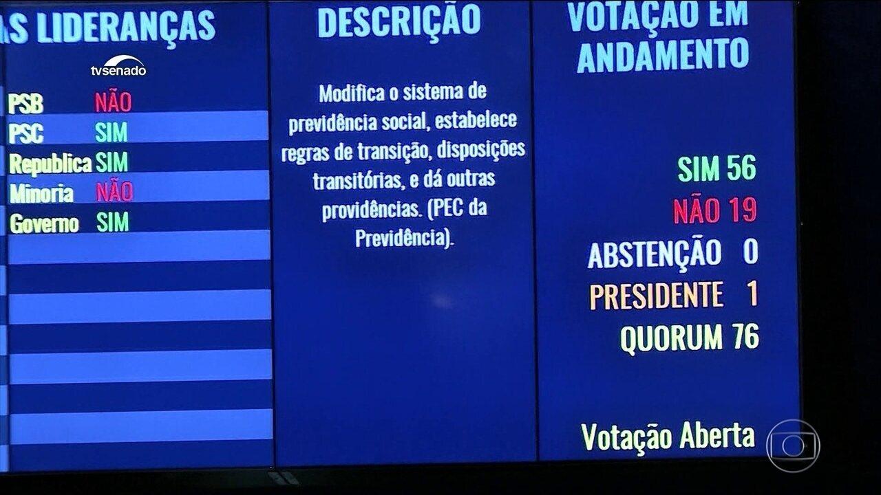 Senado aprova em primeiro turno texto da reforma da Previdência