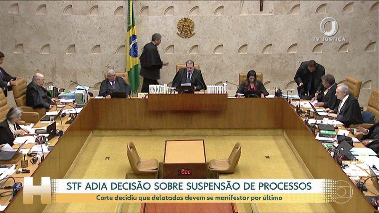 STF adia decisão sobre suspensão de processos envolvendo delatados e delatores