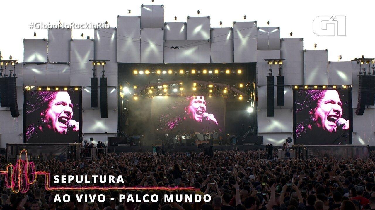 Sepultura homenageia vocalista do Angra e do Shaman no Rock in Rio