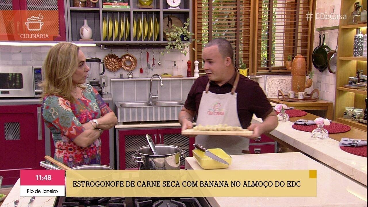 Luiz Augusto prepara receita bem diferente para o almoço do 'É de Casa'