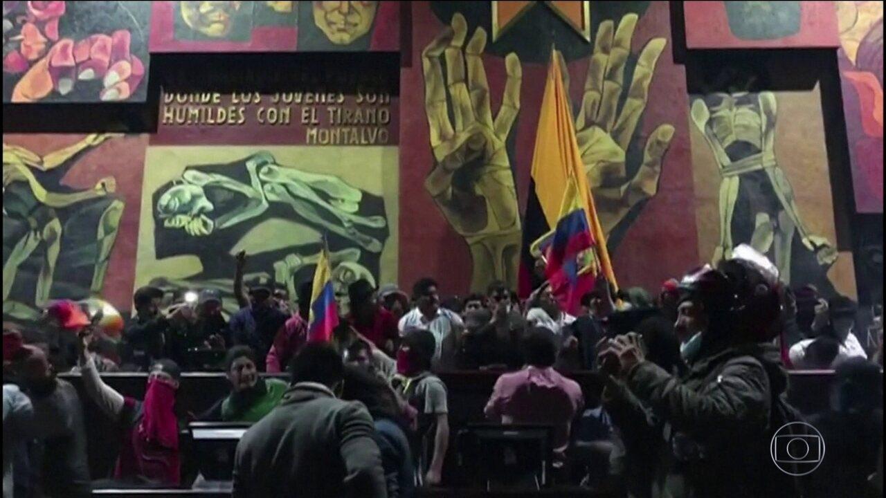 Manifestantes invadem o parlamento no Equador no sexto dia de protestos