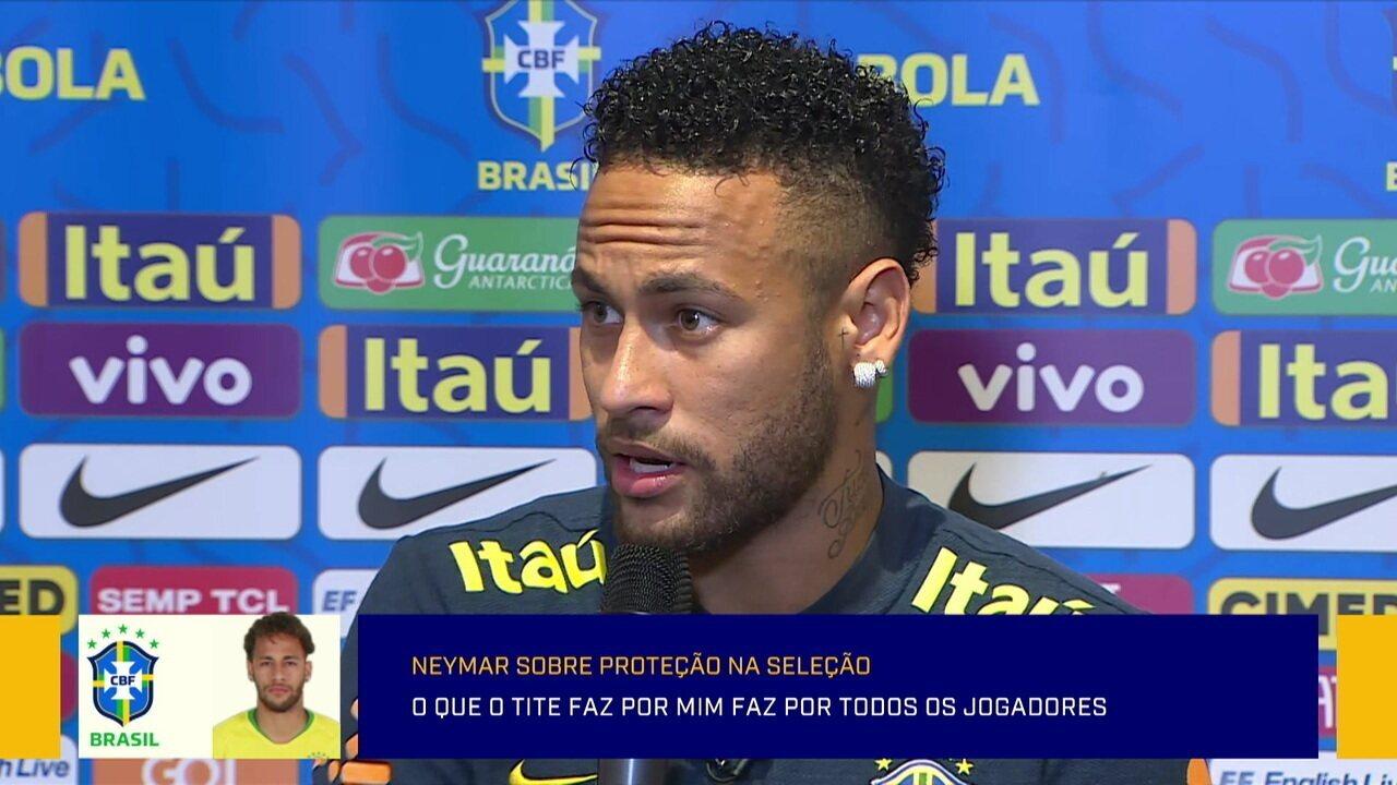 """Neymar fala sobre proteção que recebe de Tite na Seleção:"""" Não pode ser alvo de inveja. No Barcelona, o Messi tem um tratamento diferente por tudo que ele alcançou. No futebol, isso é normal"""""""