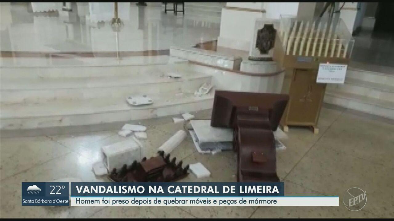 Homem quebra objetos e gera prejuízo de cerca 20 mil na Catedral de Limeira